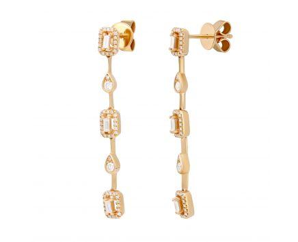 Сережки з діамантами у рожевому золоті Інесса
