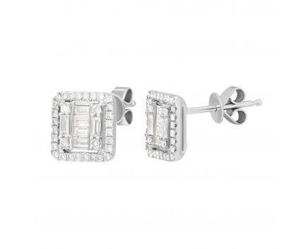 Сережки Летиція з діамантами в білому золоті