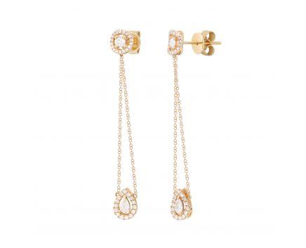 Сережки Амелія з діамантами в рожевому золоті