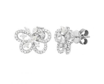 Сережки Муза з діамантами в білому золоті
