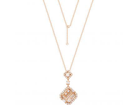 Колье Жаді з діамантами в рожевому золоті
