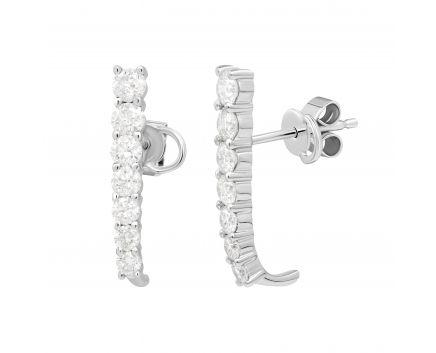 Сережки Глорія з діамантами в білому золоті