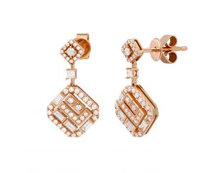 Сережки Жаді з діамантами в рожевому золоті