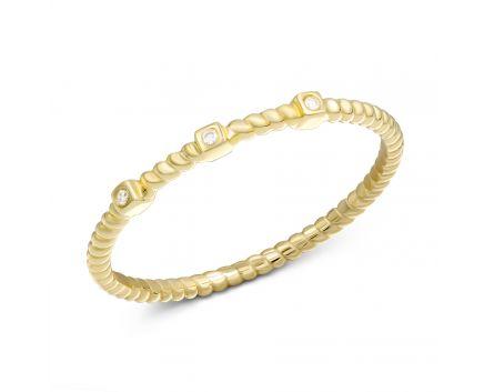 Каблучка з діамантами в жовтому золоті