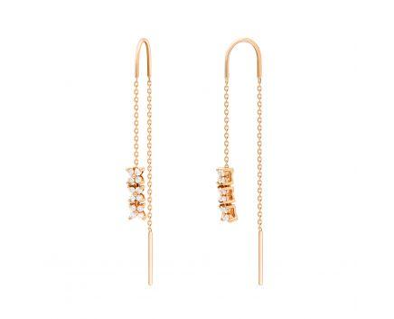 Сережки з діамантами у рожевому золоті з ланцюжками