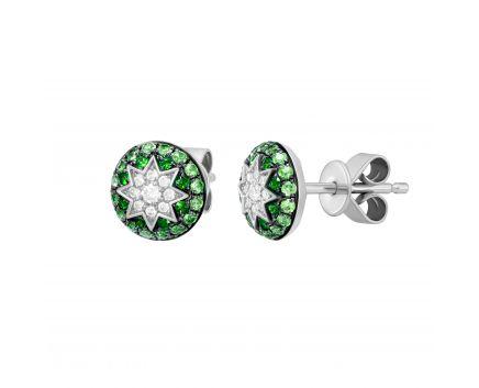 Сережки з діамантами та цаворитами ZIRKA