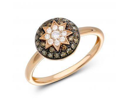 Каблучка з коньячними діамантами ZIRKA