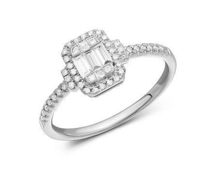 Каблучка Галія з діамантами в білому золоті