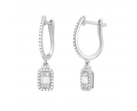 Сережки з діамантами в білому золоті англійська застібка