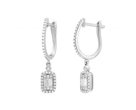 Сережки Мілада з діамантами в білому золоті