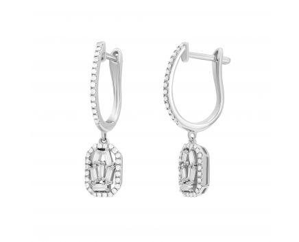 Сережки Міліца з діамантами в білому золоті