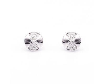 Сережки-пусети з білого золота з діамантами ZARINA