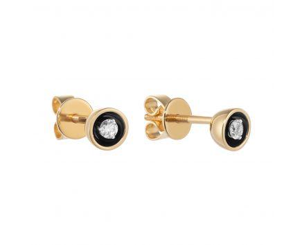 Сережки з жовтого золота з діамантами і чорним родієм