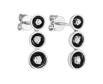 Сережки-пусети з діамантами та чорним родієм