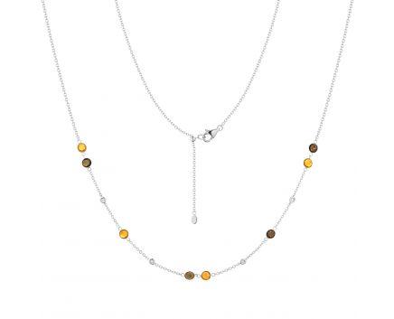 Кольє з діамантами, цитринами та димчатим кварцем у білому золоті