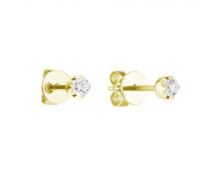 Сережки Веста з діамантом в жовтому золоті