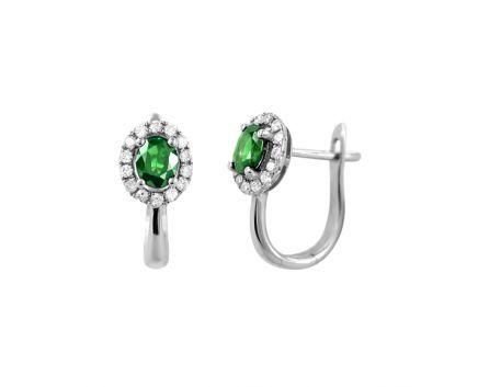 Сережки з діамантами та овальними смарагдами