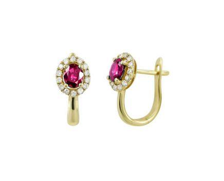 Сережки з діамантами та овальним рубіном у жовтому золоті