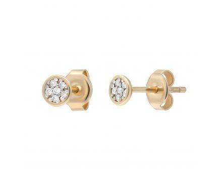 Сережки з діамантами Супутник рожеве золото
