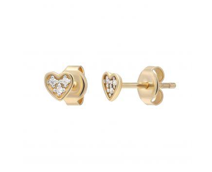 Сережки з діамантами Ніжне серце рожеве золото