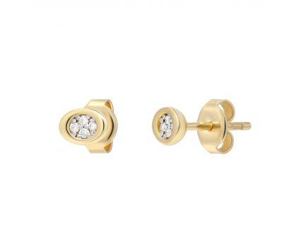 Сережки з діамантами Щирість жовте золото