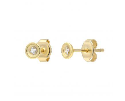 Сережки з діамантами Відкритість жовте золото