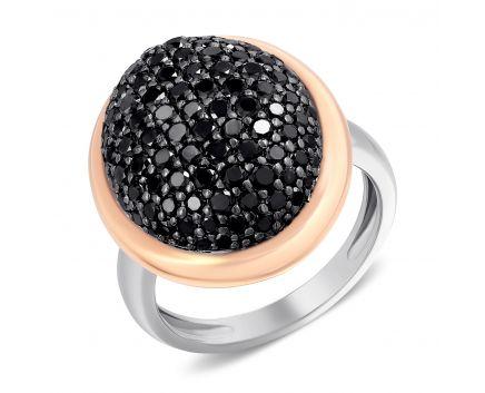 Каблучка з чорними діамантами Царська