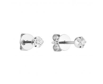 Сережки-пусети з білого золота з діамантами ZARINA Зустріч