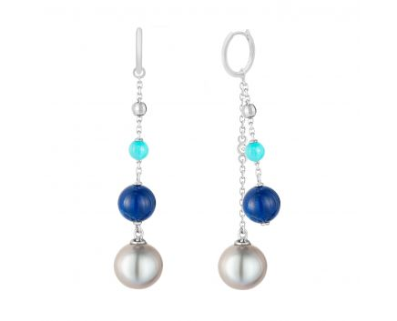 Сережки з бірюзою, лазуритом та перлами