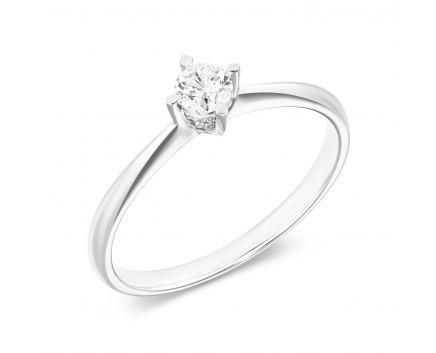 Каблучка з білого золота з діамантом та рубіном ZARINA
