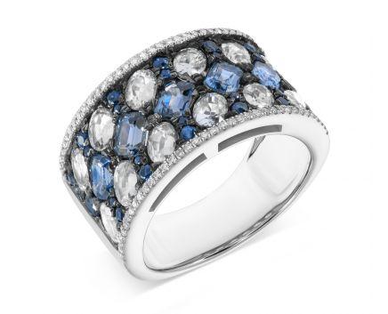 Кольцо из белого золота с бриллиантами и сапфирами ZARINA