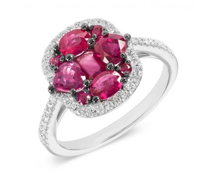 Кольцо из белого золота с бриллиантами и рубинами ZARINA