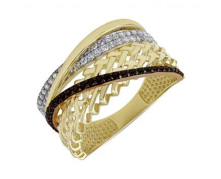 Кольцо из желтого золота белыми и черными фианитами