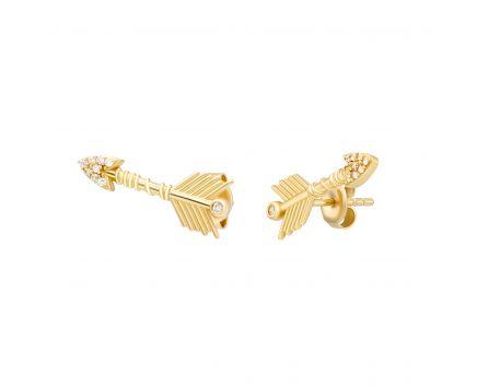 Сережки arrow з фіанітами в жовтому золоті