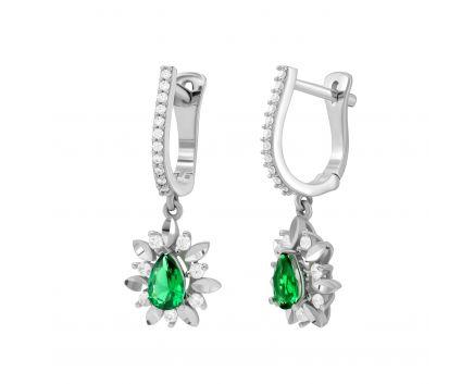 Сережки із зеленим та білими фіанітами в білому золоті