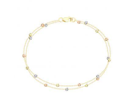 Браслет bead з білого, жовтого та червоного золота