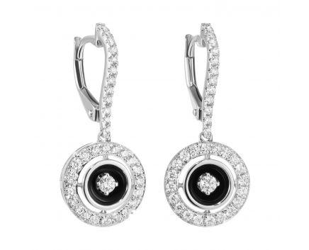 Сережки з діамантами та чорним родієм Ажур