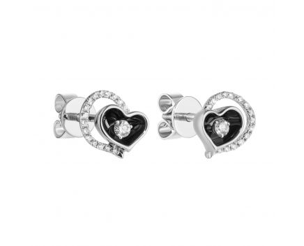 Сережки з діамантами та чорним родієм Серце