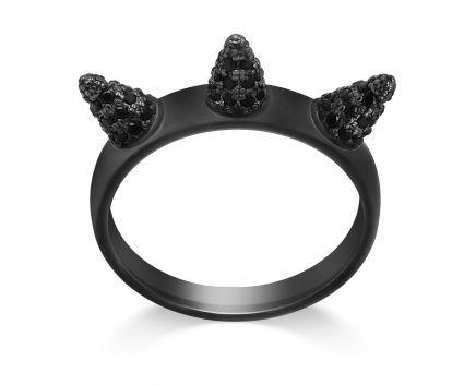 Кольцо серебряное ZARINA черный родий