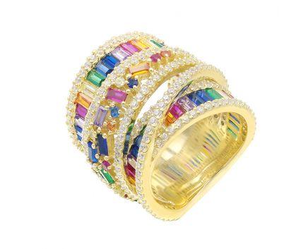 Широкое серебряное кольцо с фианитами NATKINA желтое