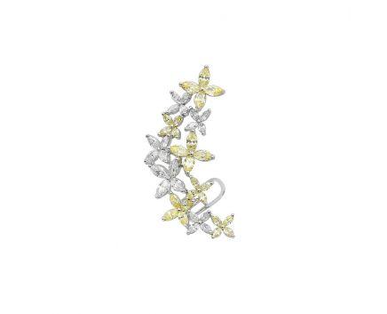 Серьга-кафф серебряная с фианитами NATKINA Цветок