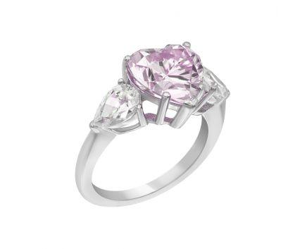 Каблучка срібна з рожевим фіанітом NATKINA Велике серце