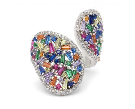Серебряное кольцо с фианитами NATKINA белый родий