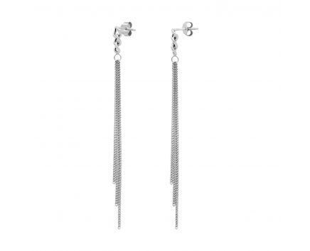 Серьги серебряные цепочки подвесные белый родий