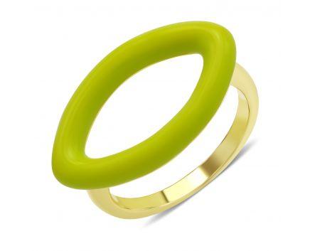 Кольцо с салатовой эмалью