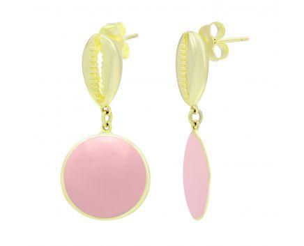 Серьги Ракушка с эмалью розовой