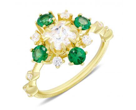 Каблучка срібна з зеленими фіанітами жовтий родій