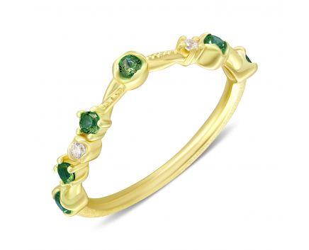 Каблучка Анастейша з зеленими фіанітами жовтий родій