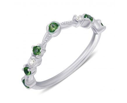 Каблучка Анастейша з зеленими фіанітами