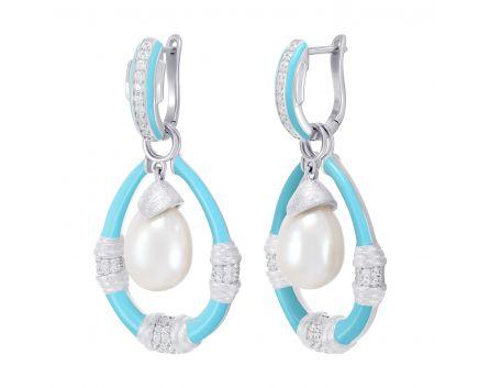 Серьги серебряные с голубой эмалью белый родий